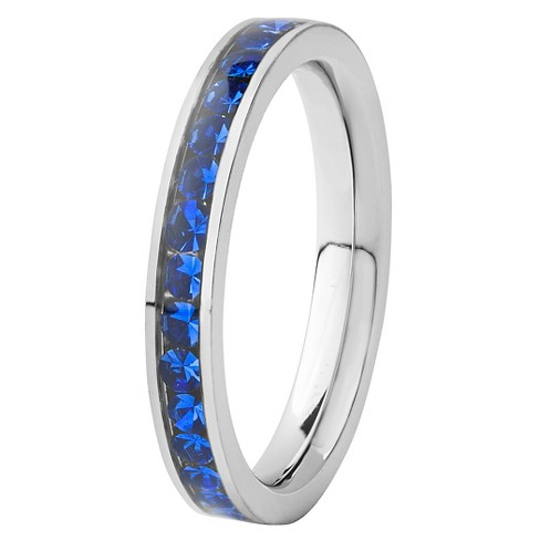 Women's West Coast Jewelry Stainless Steel Ring with Dark Blue Cubic Zirconia Inlay - image 1 of 5