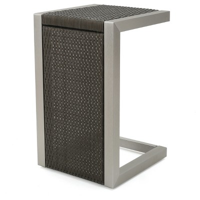 Cape Coral Square Wicker Side Table - Gray - Christopher Knight Home