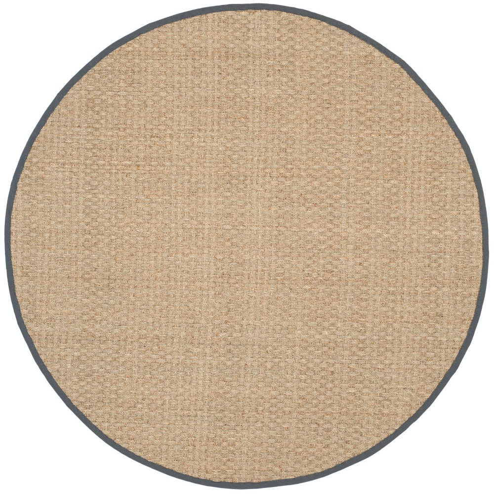 10' Solid Loomed Round Area Rug Natural/Dark Gray - Safavieh