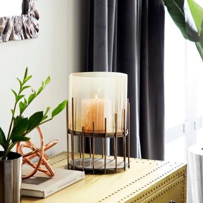 NEW CANDLE HOLDER Gold Brown Glass Round Summer Garden Tea Light Handle