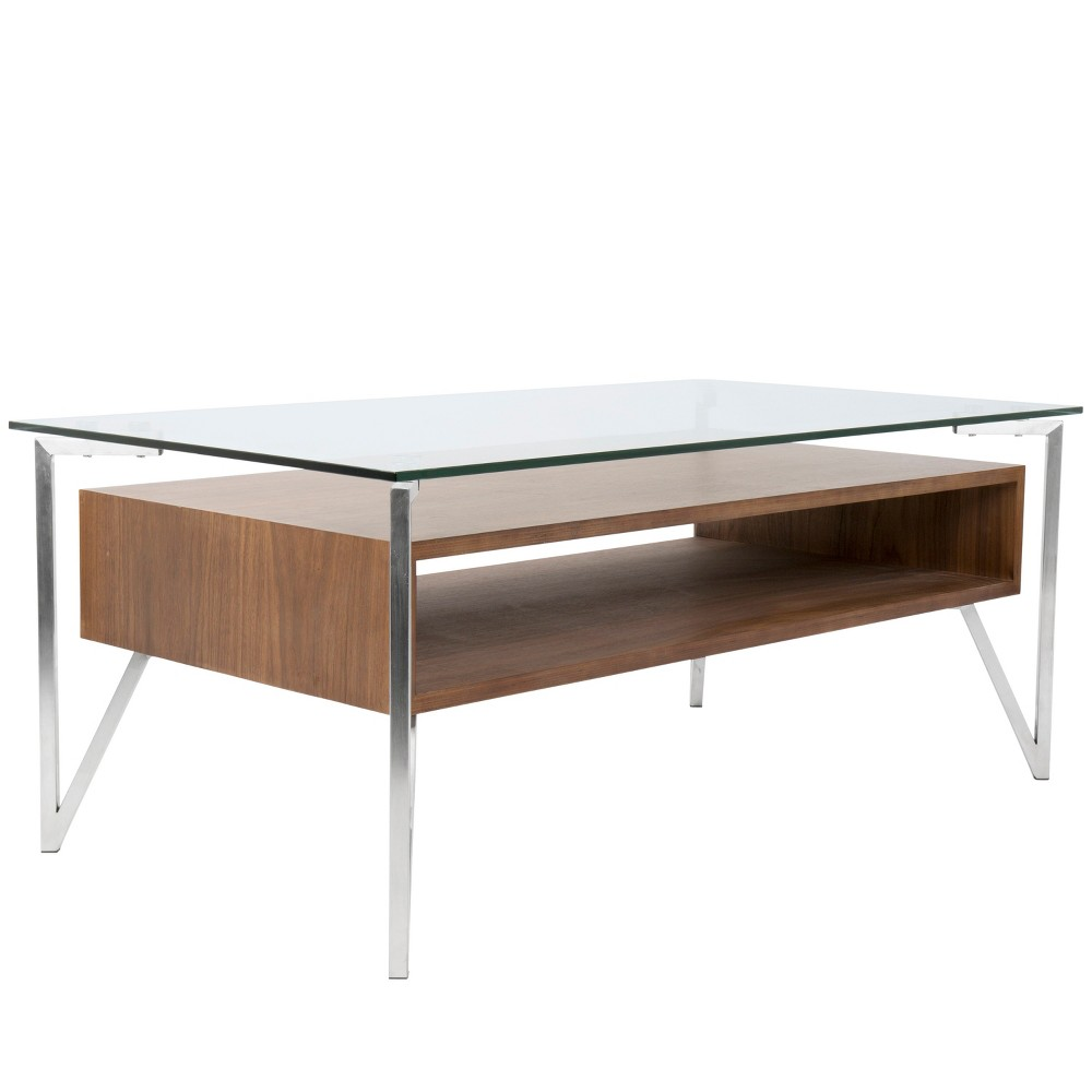 Hover Contemporary Coffee Table Brushed Stainless Steel Walnut/Clear (Brown/Clear) - LumiSource