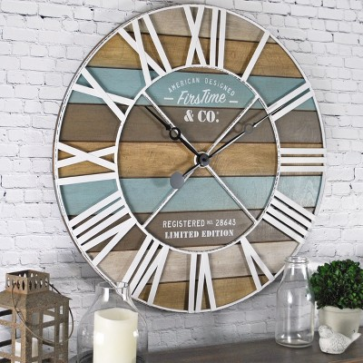 "24"" Maritime Farmhouse Planks Wall Clock Natural Wood/Aged Teal - FirsTime & Co."