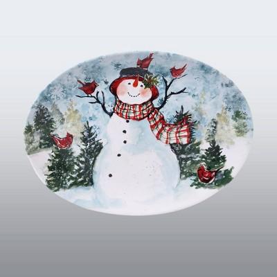 """16"""" x 12"""" Earthenware Watercolor Snowman Oval Serving Platter - Certified International"""