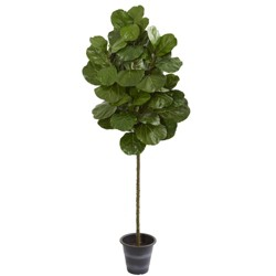 6.5ft Artificial Fiddle Leaf Tree with Decorative Planter Green - Nearly Natural
