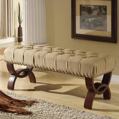 Carolina Tufted Bench with Nailhead Trim Cream - HomePop
