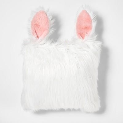 Rabbit Faux Fur Throw Pillow White - Pillowfort™
