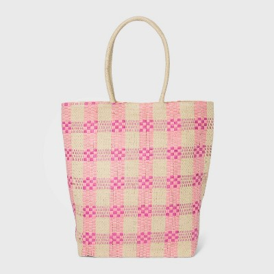 Plaid Magnetic Closure Straw Tote Handbag - A New Day™ Pink