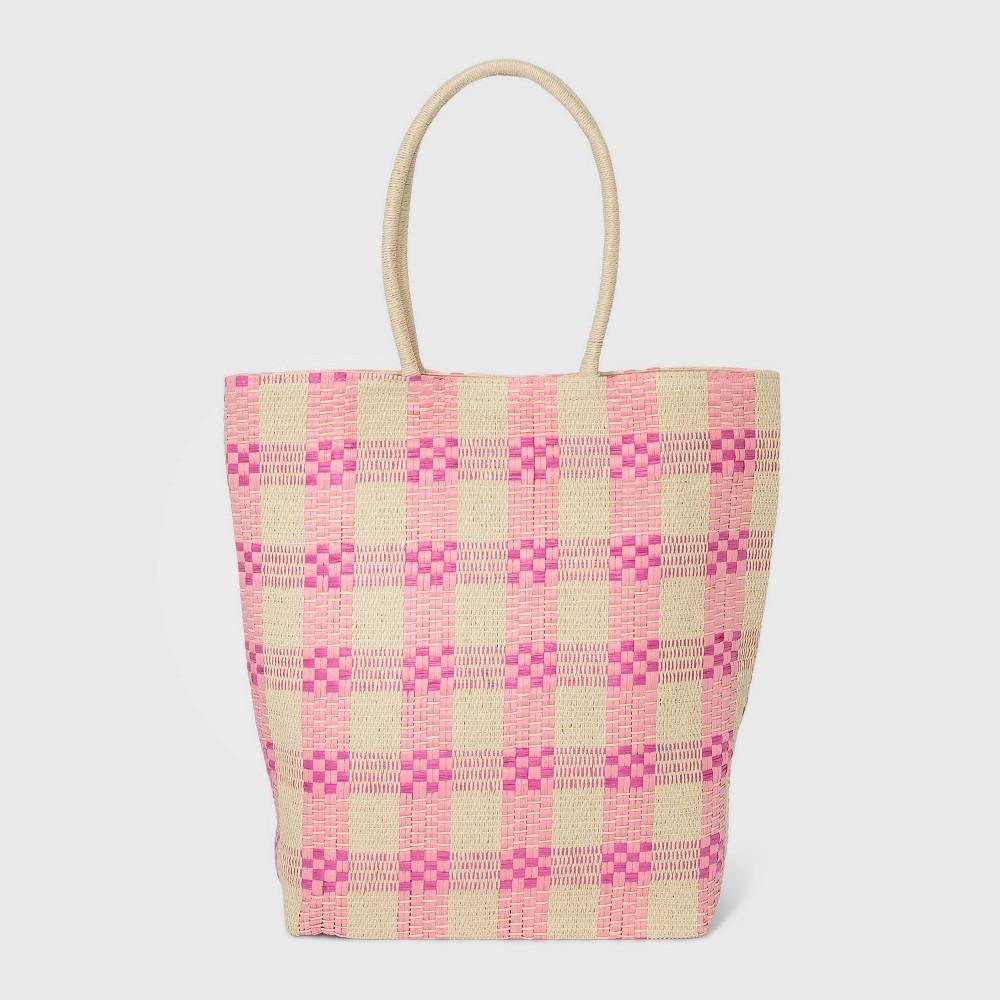 1950s Handbags, Purses, and Evening Bag Styles Plaid Straw Tote Handbag - A New Day Pink $25.00 AT vintagedancer.com