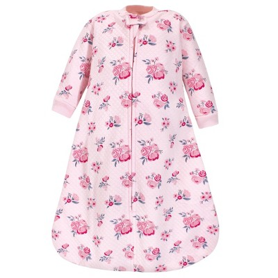 Hudson Baby Infant Girl Premium Quilted Long Sleeve Sleeping Bag and Wearable Blanket, Pink Navy Floral