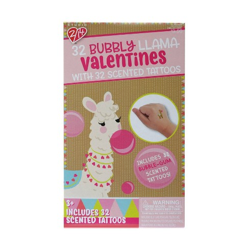 Llama 32ct Valentines With Bubble Pop Scented Tattoos - image 1 of 1