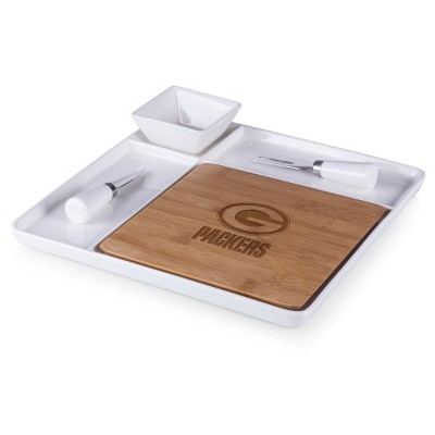 Green Bay Packers Peninsula Bamboo Cutting Board Serving Tray with Cheese Tools by Picnic Time