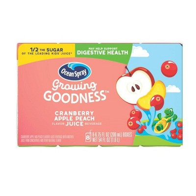 Ocean Spray Growing Goodness Cranberry Peach Apple Juice Drink - 8pk/6.75 fl oz Boxes