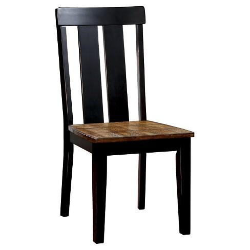 Sun & Pine Carey Plank Style Side Dining Chair - Antique Oak and Black (Set  of 2) - Sun & Pine Carey Plank Style Side Dining Chair - Antique Oak And