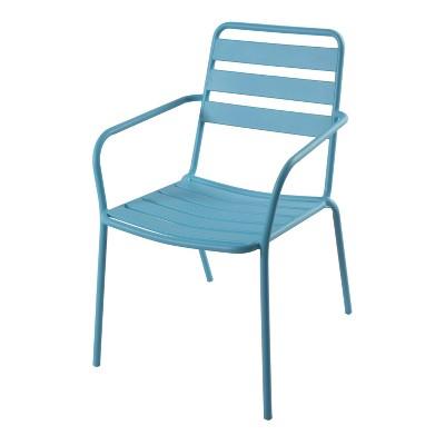 Metal Slat Patio Stacking Chair - Aqua - Room Essentials™