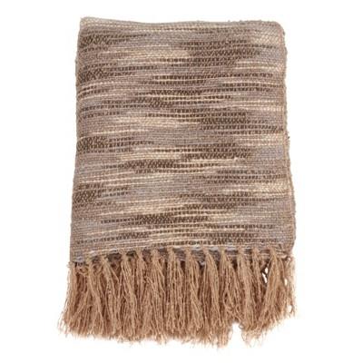 """50""""x60"""" Chindi Design Throw Blanket Natural - SARO"""