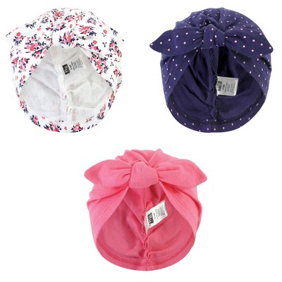 Hudson Baby Baby Girl Turban Cotton Headwraps, Dainty Floral, One Size