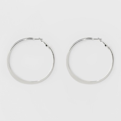 Large Knife Edge Hoop Earrings - A New Day™ Silver