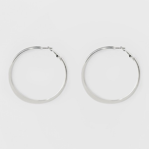 Large Knife Edge Hoop Earrings - A New Day™ Silver - image 1 of 2