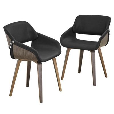Set of 2 Callie Mid-Century Dining Chairs Gray - Lifestorey