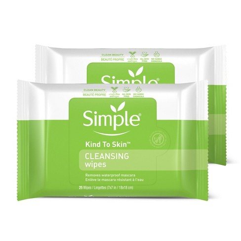 Unscented Simple Cleansing Facial Wipes Kind to Skin - 2x25ct - image 1 of 4
