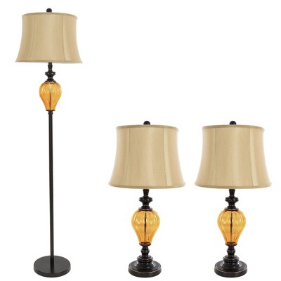 Table Lamps And Floor Lamp Amber Glass Set Of 3 (3 LED Bulbs Included)    Yorkshire Home