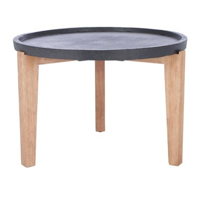 Valton Side Table - Natural/Black - Safavieh