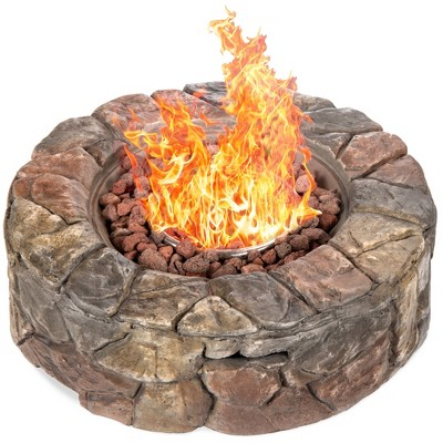 Best Choice Products 30,000 BTU Gas Fire Pit for Backyard, Garden, Home, Outdoor Patio w/ Natural Stone, Handle, Cover