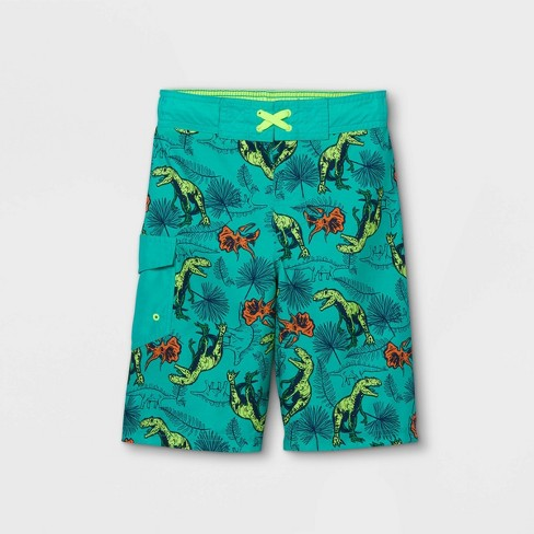 Boys' Dino Swim Trunks - Cat & Jack™ Green - image 1 of 2