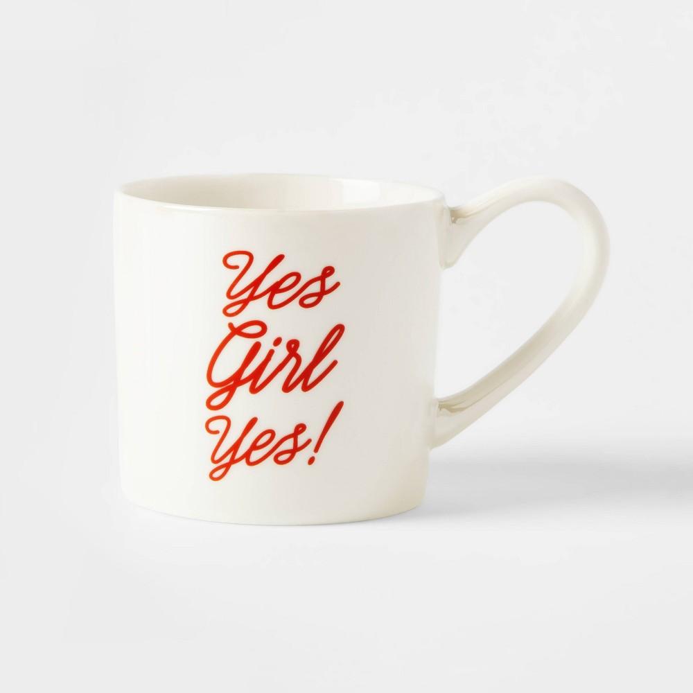 12oz Porcelain Yes Girl Yes Mug Cream (Ivory) - Threshold