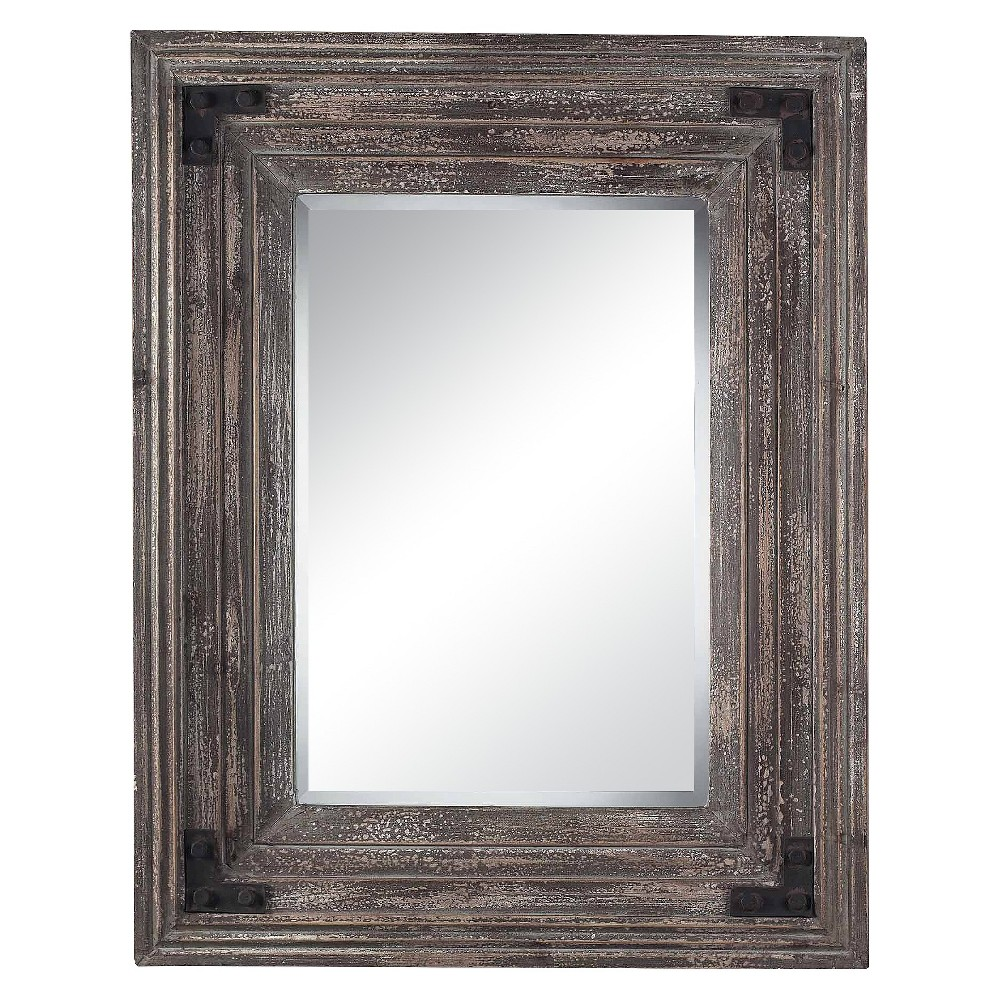 Image of Rectangle Reclaimed Wood Decorative Wall Mirror - Lazy Susan, Brown