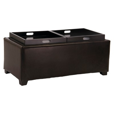 Maxwell Bonded Leather Double Tray Storage Ottoman Brown - Christopher Knight Home