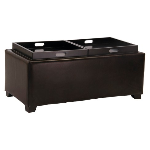 Maxwell Bonded Leather Double Tray Ottoman - Christopher Knight Home - image 1 of 4