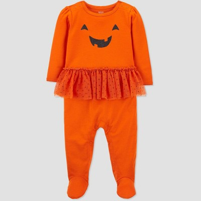 Baby Girls' Halloween Pumpkin Tutu Sleep N' Play - Just One You® made by carter's Orange 9M