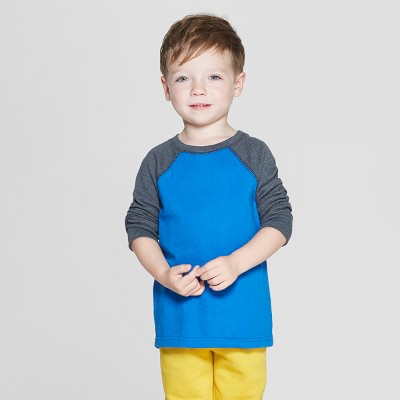 Toddler Boys' Thermal Raglan Long Sleeve T-Shirt - Cat & Jack™ Blue 12M