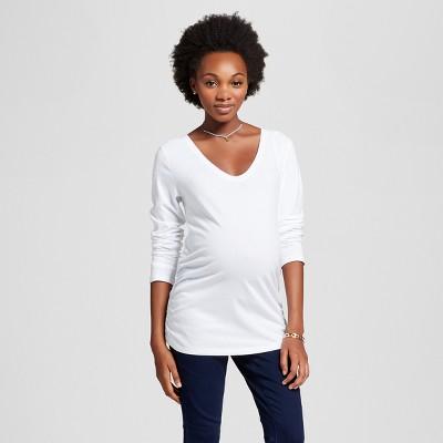 Maternity Long Sleeve Shirred T-Shirt - Isabel Maternity™ by Ingrid & Isabel® White L