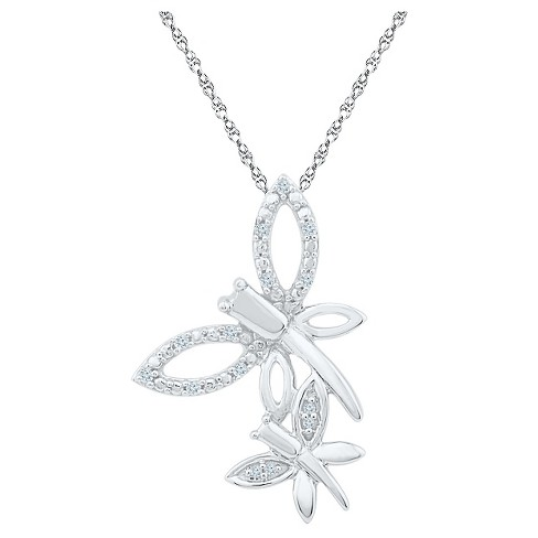 "1/20 CT. T.W. Round White Diamond Prong Set Dragonfly Pendant in Sterling Silver (18"" IJ-I2-I3) - image 1 of 1"