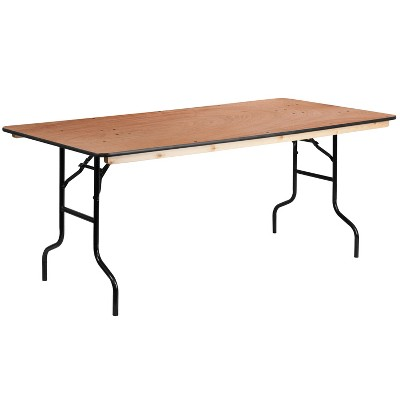 Flash Furniture 6-Foot Rectangular Wood Folding Banquet Table with Clear Coated Finished Top