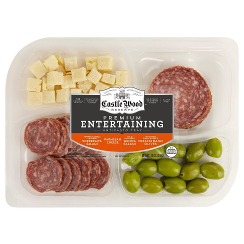Castle Wood Reserve Antipasto Tray with Frescatrano Olives, Parmesan Cheese & Salamis - 12oz - image 1 of 2