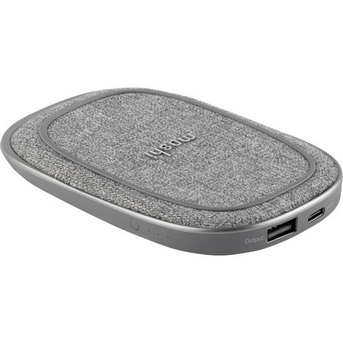 Moshi Porto Q 5K Portable Battery with Built-in Wireless Charger - Nordic Gray - For Smartphone, Bluetooth Speaker, Headphone, USB Device - 5000 mAh - image 1 of 4