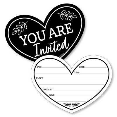 Big Dot of Happiness Mr. and Mrs. - Shaped Fill-In Invitations - Black and White Wedding or Bridal Shower Invitation Cards with Envelopes - Set of 12