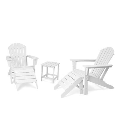 5pk Plastic Resin Adirondack Chairs with Side Table & Ottoman Set - White - EDYO LIVING