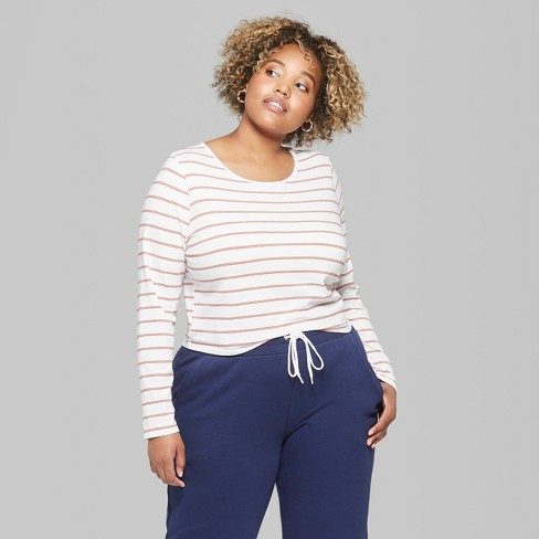 4a7cd9dce8d38 Women s Plus Size Striped Long Sleeve Crew Neck T-Shirt - Wild Fable™  Orange Stripe 1X   Target