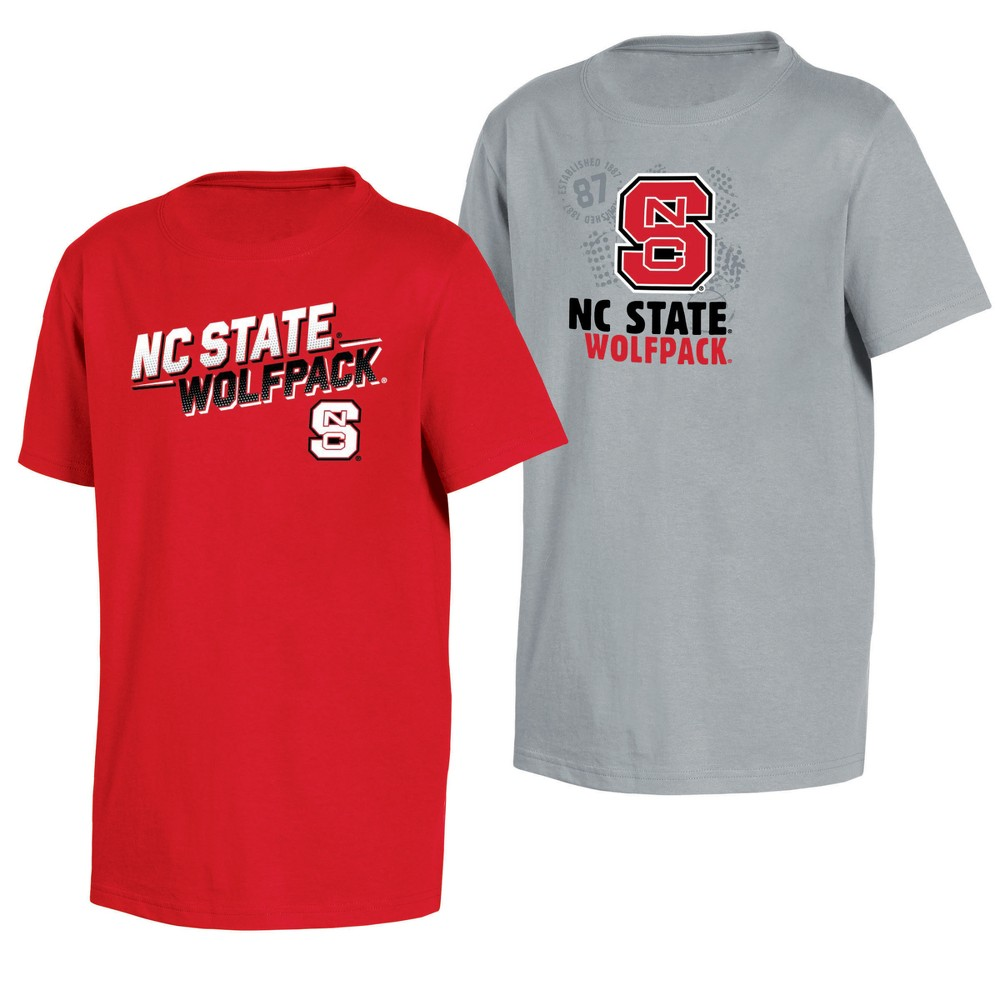 NC State Wolfpack Double Trouble Toddler Short Sleeve 2pk T-Shirts 3T, Toddler Boy's, Multicolored