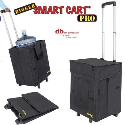 dbest products 01-854 Bigger Smart Cart Pro Collapsible Rolling Utility Basket for Laundry, Shopping, and Travel with Telescoping Handle, Black