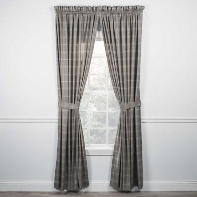 "Ellis Curtain Morrison High Quality 2-Piece Window Rod Pocket Panel Pairs With 2 Tie Backs - 90""x84"""