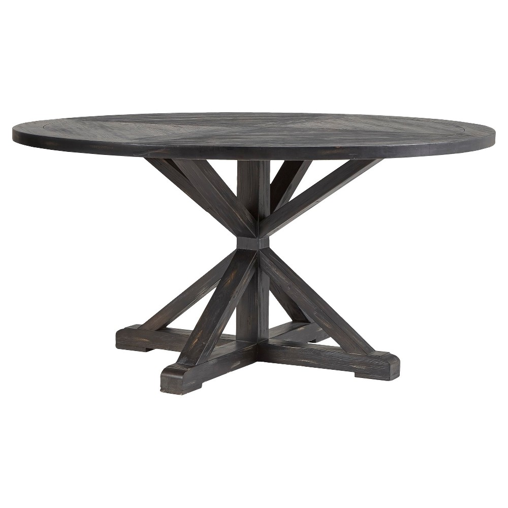 Sierra Round Farmhouse Pedestal Base Wood Dining Table - 60 - Charcoal Brown - Inspire Q