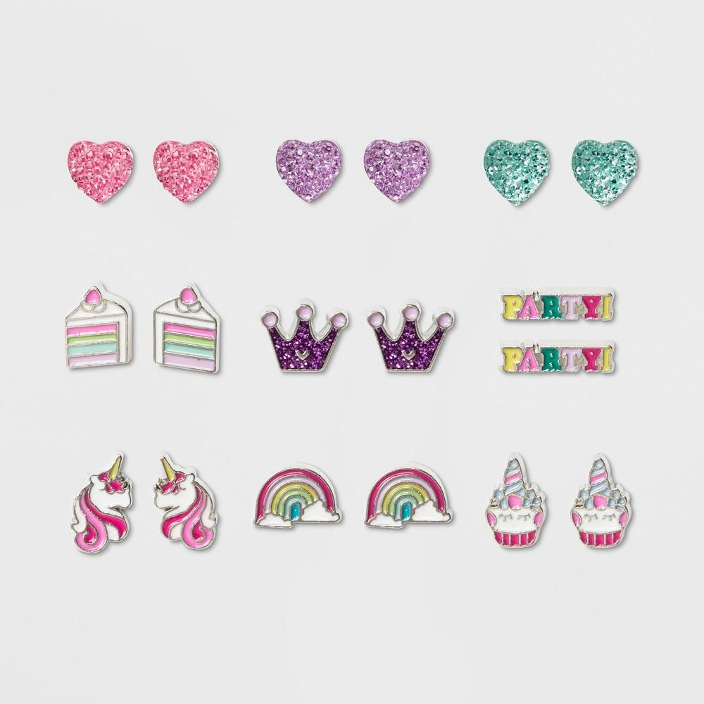 Girls' 9ct Happy Birthday Earrings - Cat & Jack, Multi-Colored