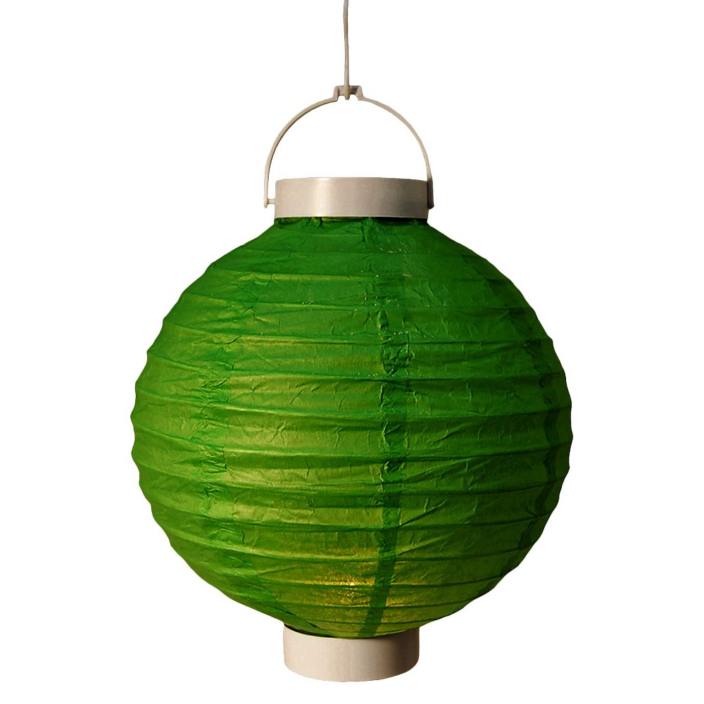 Image of 3ct Green Battery Operated Paper Lantern