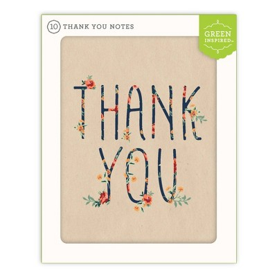 Green Inspired 10ct Rose Arbor Thank You Cards