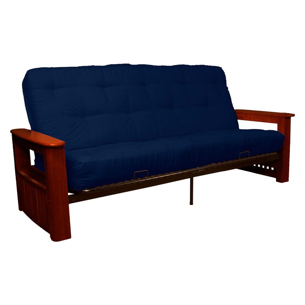 Flip Top Arm 8 Inner Spring Futon Sofa Sleeper Mahogany Wood Finish Dark Blue - Epic Furnishings